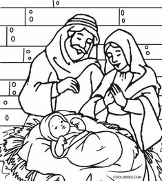 Printable Nativity coloring page Free PDF download at http
