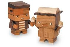 The pieces shown here are by toymaker Takeji Nakagawa aka Take-G Pallet Crafts, Wooden Crafts, Woodworking Toys, Woodworking Projects, Monster Box, Pallet Designs, Wooden Pallets, Wood Toys, Art Plastique