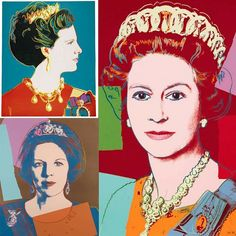 """Today Andy Warhol died 30 years ago. For him """"it would be very glamorous to be reincarnated as a great ring on Liz Taylor's finger""""  Warhol painted three powerful women of the time with theirs jewels. In the top Queen Margaret of Denmark with the Poiré pearl tiara. Bellow Queen Beatrix of the Netherlands with the Queen Emma's diamond tiara. And at the right Queen Elizabeth II of United Kingdom with the Grand-Ducheds Vladimir of Russias's tiara. __________  Hoy hace 30 años que murió Andy…"""