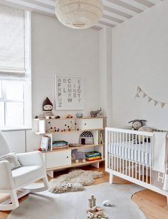 Neutral modern nursery design - so many charming details. have the crib, have all white bedding, have the rocker, just need bookshelf