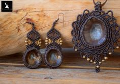 Jewelry set macrame pendant and earrings by TheTomentosaShop