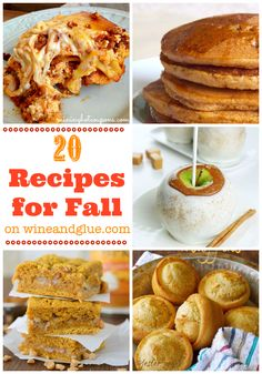 20 Fall Recipes by Wine and Glue Pumpkin Recipes, Fall Recipes, Holiday Recipes, Winter Food, Fall Food, Fall Treats, Halloween Treats, Great Appetizers, Fall Baking