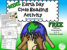 Earth Day is so important, it should be Earth Day, Everyday! This differentiated Close Reading Activity will help you te Close Reading Activities, Earth Day Activities, Teaching Activities, Reading Strategies, Teaching Reading, Learning, Reading Passages, Reading Comprehension, Comprehension Questions