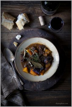 braised beef stew with red wine and winter vegetables