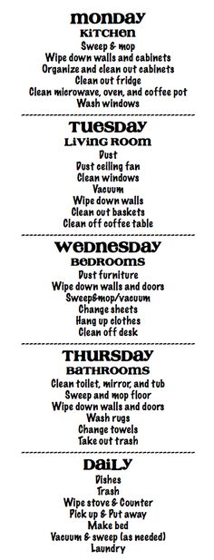 cleaning schedule- i need to go by this
