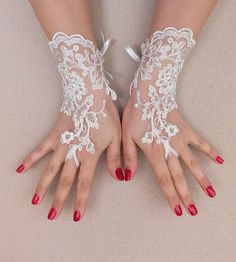 ivory Wedding Glove ivory lace gloves Fingerless by WEDDINGHome, $25.00