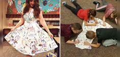 Basée aux États-Unis, Haley Curfman est une institutrice qui sait comment canaliser la créativité de ses jeunes élèves. Elle a en effet eu l'idée de les laisser dessiner sur sa robe en laissant libre cours à leur imagination.