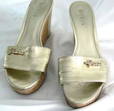 0f8ab3cdd1f6ff GUESS Platform Wedge Gold Metallic Bolden Cork Sandals Sz 7.5 M Rhinestone  Shoes  GUESS