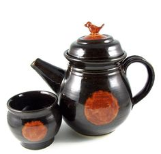Ceramic Teapot Set - Handmade Teapot with Little Bird on Top - Stoneware Clay Pottery Tea Set - Ready to Ship via Etsy