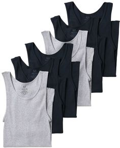 Who says all undershirts have to be white? Spice things up with the Men's Fruit of the Loom Signature Super Soft Black/Grey A-Shirt Mens Tee Shirts, Fruit Of The Loom, Tank Top Shirt, Adidas Men, Black And Grey, Large Black, Cotton, Women, Style