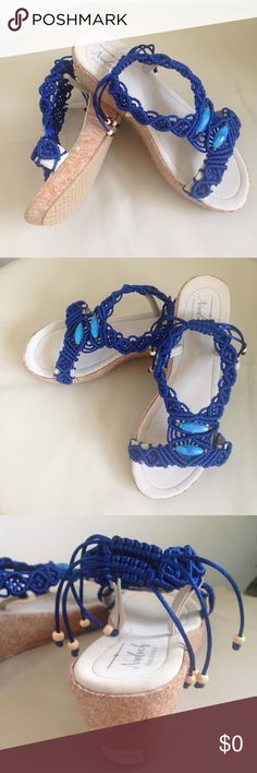 1e66a0fc95f5 Handmade Macrame Blue Platform Wedge Sandals Blue macrame handmade platform  wedge sandals with blue agate natural