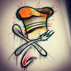 2017 trend Watercolor tattoo - Beautiful Chef Hat With Crossed Spoon And Fork Watercolor Tattoo... Check more at http://tattooviral.com/tattoo-designs/watercolor-tattoos/watercolor-tattoo-beautiful-chef-hat-with-crossed-spoon-and-fork-watercolor-tattoo/