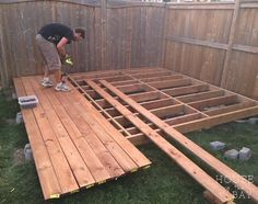 How to Build a Floating Deck 2019 If you're thinking of building your own floating deck I've put together a step by step tutorial on how we built ours in one weekend. The post How to Build a Floating Deck 2019 appeared first on Deck ideas. Building A Floating Deck, Building A Deck, Floating House, Floating Deck Plans, Floating Shelves, Tech Deck, Platform Deck, Deck Construction, House With Porch