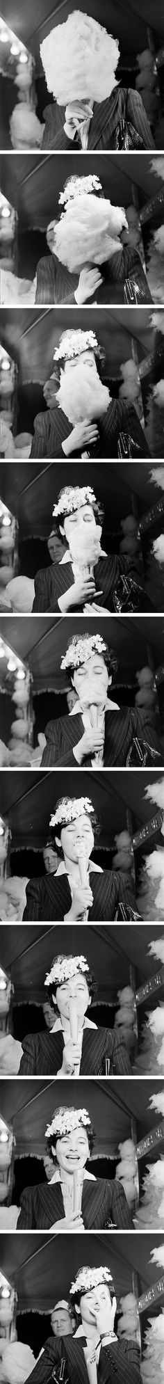 """""""Unknown Woman Eating Cotton Candy"""" by Nina Leen"""