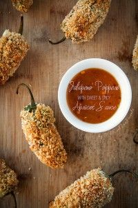 Healthy baked jalapeno poppers with a sweet and spicy apricot dipping sauce. Let's talk football. Actually, let's not. Let's talk football food.