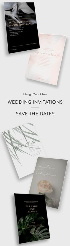 Modern Wedding Invitations + Save the Dates / Design Your Own Online and Customize Everything / Coordinating Wedding Websites