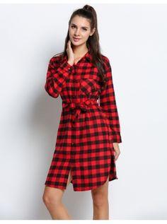 Kırmızı Moda Bayan Lady Uzun Kollu Örgü Şık Canlı Elbiseli Düz Tunik Bluz Gömleği Kontrol Edin