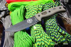 ESEE Knives 5SKOBK Model 5 Black 1095HC ComboEdge Blade, Gray Micarta Handles, Knife Only-No Sheath. http://www.osograndeknives.com/store/catalog/fixed-blade-neck-knives/esee-knives-izula-pink-blade-cord-wrap-handle-23101.html