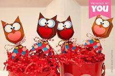 VALENTINE Owl Lollipop Favor Box  DIY by PiggyBankParties on Etsy, $9.00