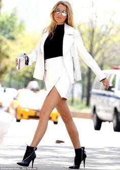 white suit + black booties