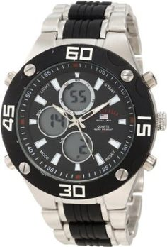 U.S. Polo Assn. Men's US8532 Silver-tone and Black Analog Digital Watch