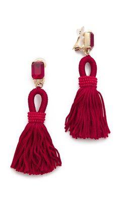 Oscar de la Renta Short Tassel Clip On Earrings Beaded Tassel Earrings, Tassel Jewelry, Red Earrings, Clip On Earrings, Jewelery, Charm Jewelry, Beaded Jewelry, Jewelry Accessories, Fashion Accessories