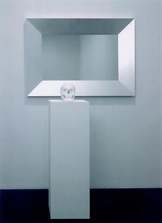 Katharina Fritsch PICTURES WITH MIRROR AND SKULL, 1998 Aluminum, glass, wood, lacquer, porcelain and paint