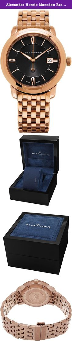 Alexander Heroic Macedon Bracelet Wrist Watch For Men - Black Dial Date Analog Swiss Watch - Stainless Steel Plated Rose Gold Watch - Mens Designer Watch A111B-07. Alexander Story: Alexander was the pupil of the storied Greek philosopher Aristotle. He was intelligent, quick to learn and extremely well read. His personality defined charisma, and his obsession with success allowed him to conquer most of the known world at the time. He left a significant legacy beyond his conquests as he...