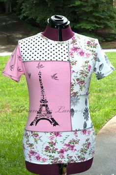 Pink Paris t-shirt top, Eiffel tower jersey top, hand printed pink white black shirt, floral and polka dots short sleeve tee, unique patchwork top, size plus shirt, handmade women's fashion by Francoise Lama-Solet