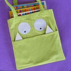Image of Beast Bag library tote bag pattern PDF - so cute - could just add decorations to plain bag you have on hand. Fun!