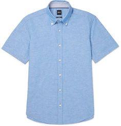 b921da8d8 HUGO BOSS Roddy Slim-Fit Button-Down Collar Cotton And Linen-Blend Shirt