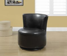 Juvenile Chair - Swivel / Dark Brown Leather-Look. Add flair and style to your child's bedroom or playroom with this fun sized juvenile accent chair. Upholstered in a dark brown leather look material, this chair is the perfect place for your young one to read, watch a movie or have their own special place to sit for family night!  Featuring a curved back and round seat cushion this chair also features  a 360-degree swivel making it a must have for any child! * Fun sized accent chair ideal…