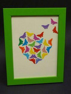 Frame with love - Ramka Serce Motyle Kolorowe