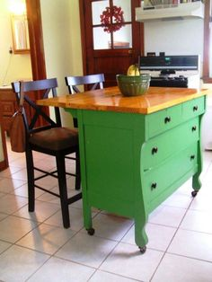 Kitchen , Small And Portable Kitchen Island Ideas : Diy Cute And Green Kitchen Island Idea Made Of Antique Dresser For Small Space (Diy Furniture Small Spaces) Small Portable Kitchen Island, Mobile Kitchen Island, Green Kitchen Island, Kitchen Island On Wheels, Kitchen Island Decor, New Kitchen, Kitchen Small, Kitchen Islands, Kitchen Ideas