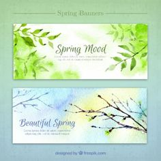 Watercolor nature banners