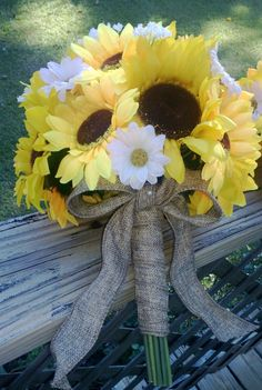 2 piece Sunflower Bouquet Wedding Flower Set wrapped in Natural Burlap