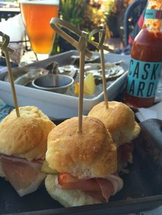 Olde Southern Wit with Happy Hour Oysters & Ham Biscuits at Cask & Larder, Winter Park/Orlando Florida.