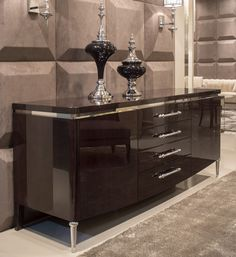 High gloss walnut and silver plated veneer sideboard. Luxury furniture. Interior design, interiors, decor. Take a look at: www.bocadolobo.com