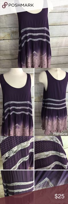 Intimately Free People Slip Dress Lace Purple ombre dress/slip. Asymmetrical hem. Size large. Does have a few spots of damage to the lace. Please see pictures. Beautiful dress! Free People Dresses Asymmetrical