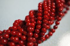 NEW - Red Round Coral Beads - 4mm - 50 pcs. $5.00, via Etsy.