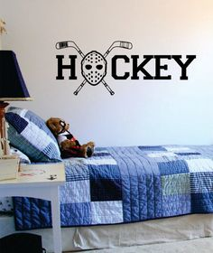 Hockey The latest in home decorating. Beautiful wall vinyl decals, that are simple to apply, are a great accent piece for any room, come in an array of colors, and are a cheap alternative to a custom