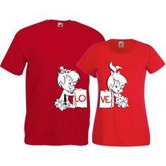 Tricouri pentru cuplu LoveTricouri pentru cuplu cu mesajul Love scris pe cele doua tricouri. Tricourile sunt de aceeasi culoare (daca doriti alte culori specificati in comanda), iar marimile pot fi selectate separat.  Pret: 48 ron Shirt Print Design, Printed Shirts, Onesies, Chemistry Art, Clothes, Templates, Fashion, Tattoo, Outfits