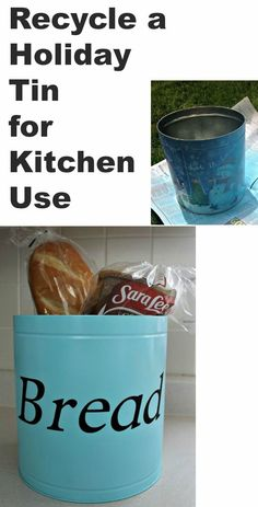 Recycle a Holiday tin into a Decorative storage tin for your kitchen