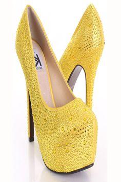 yellow bling shoes | Yellow Satin Faux Leather Studded Rhinestone Platform Pump Heels ...