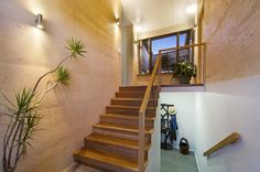 Ribbonwood Ave, Maleny House Natural Building, Green Building, Rammed Earth Homes, Earth Design, Passive Solar, Building Materials, House Ideas, Stairs, Construction