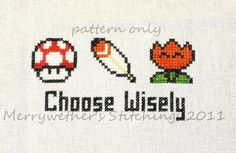 Super Mario World - Choose Wisely Cross Stitch PATTERN. $3.00, via Etsy.