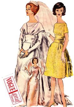1960s Vintage Vogue Special Design 4244 Sewing Pattern Wedding Dress Bridal Gown Size 14 Bust 34 Has FABRIC LABEL Included.
