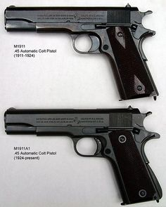 Difference in the Pre 1924 Colt 1911-a1 and later, look mostly at the trigger area