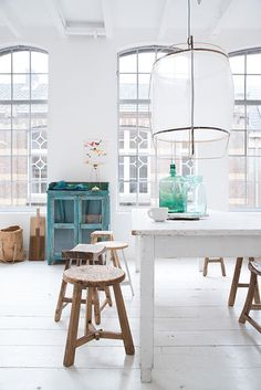 Just a little splash of colour. Beautiful light and airy space.