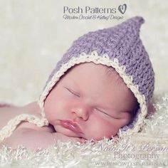 Crochet PATTERN  Vintage Baby Bonnet Pixie Hat by PoshPatterns, $3.99
